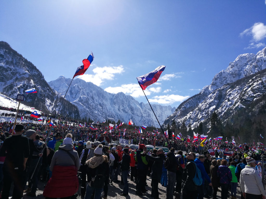 View on mountains and supporters during comptetition in Planica
